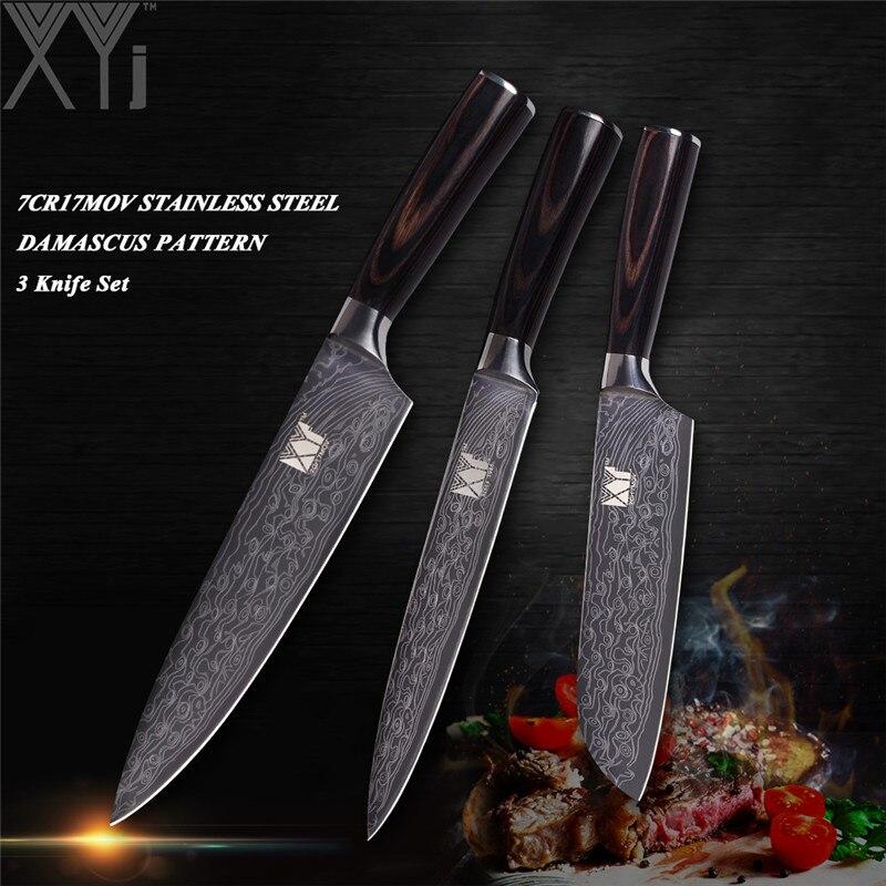 XYj חיקוי דפוס דמשק סט אולטרה שארפ סכיני מטבח נירוסטה רב תכליתי סכין שף סט אבזרים למטבח