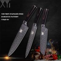 XYj Imitation Damascus Pattern Stainless Steel Kitchen Knives Set Ultra Sharp Multi purpose Chef Knife Set Kitchen Accessories