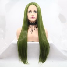 Marquesha Long Straight Olive Green Synthetic Lace Front Wig Heat Resistant Fiber Lace Wig For Women