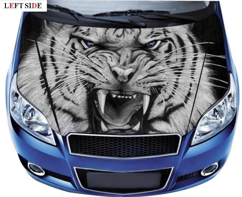 Graphics Wolf Head Sticker Hood Bonnet Decal Side Doors Vinyl Stripes Animals