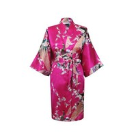 Hot Pink Classic Women S Polyester Robe Stylish Kimono Gown Lounge Printed Flower Sleepwear Size S