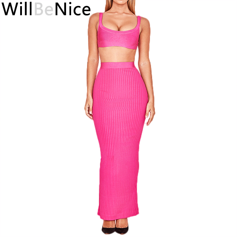 WillBeNice Pink 2 Piece Set Women Long Dress High Quality Sexy Party Ankle Length Dress 2019