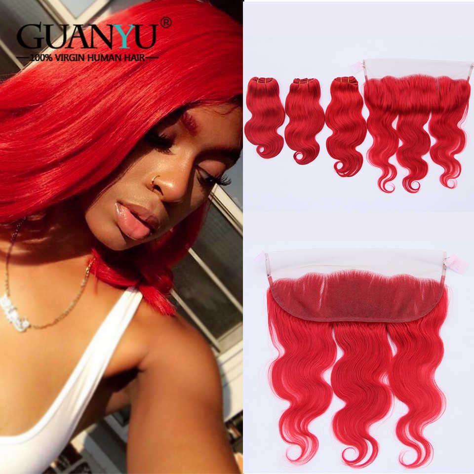Guanyuhair Dark Red Remy Hair 3 Bundles With 13x4 Lace Frontal Closure Ear to Ear Brazilian Body Wave Human Hair Weave