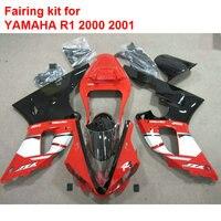 Прессования для мотоциклов обтекатели для Yamaha красный черный YZFR1 2000 2001 обтекатель комплект для YZF R1 00 01 BA124