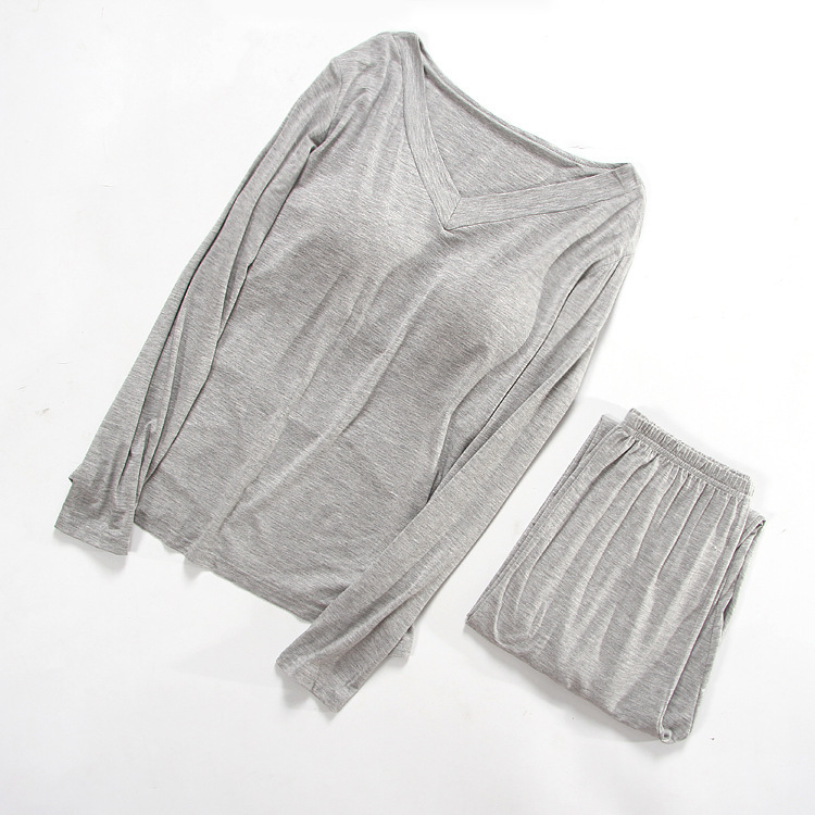 Simple Pure color bamboo modal women   Pajamas     sets   cozy autumn nightwear long-sleeved sleepwear for women