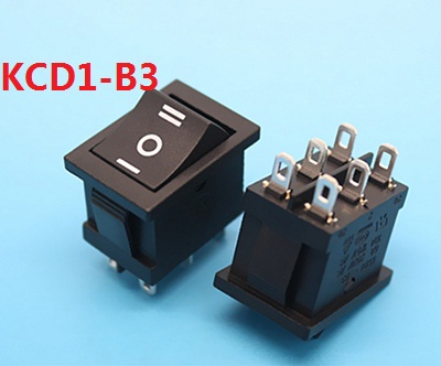 KCD1-B3 203 black AC swicths 6 pin 3 position on off on electrical rocker switch for electronic equipment 6A 10A