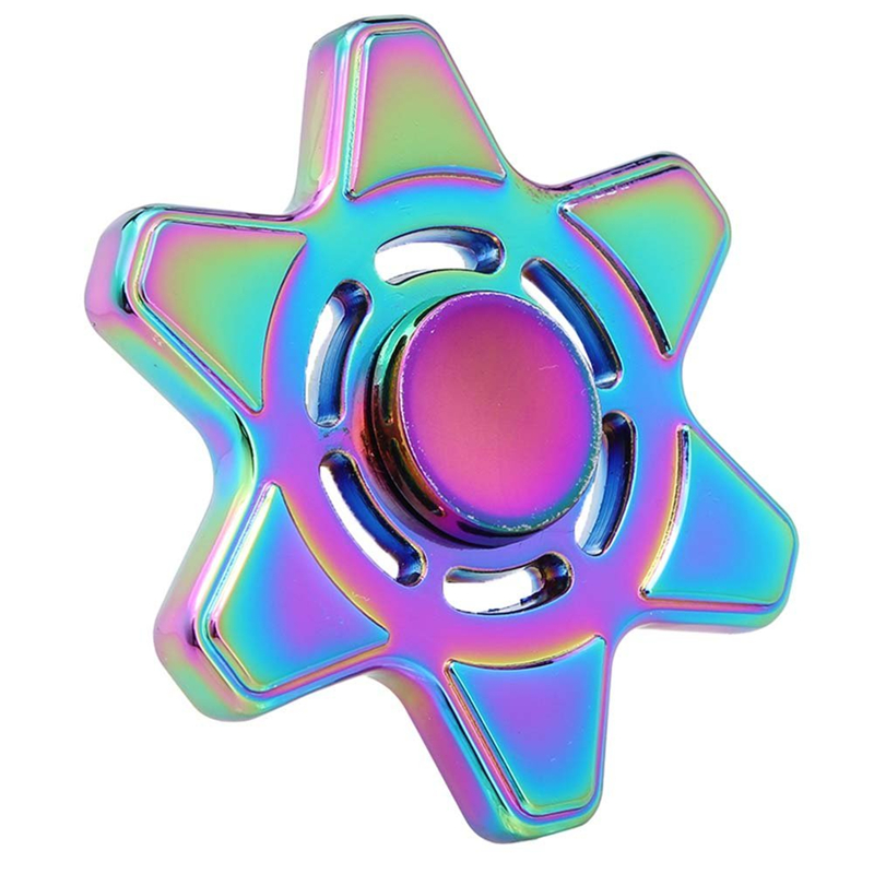 Rainbow Brass Tri Spinner Hand Spinner Metal Gold EDC Fidget Toy Sensory Fidget Spinners for Autism