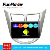FUNROVER 2.5D+IPS android 9.0 car radio cassette recorder For Hyundai Accent Solaris Verna 2008 2016 radio dvd navigation RDS BT