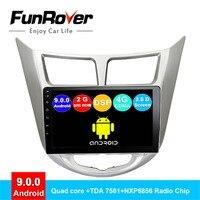 FUNROVER android 9,0 Автомобильная магнитола для hyundai Accent Solaris Verna 2008 2016 Радио DVD диктофон навигация