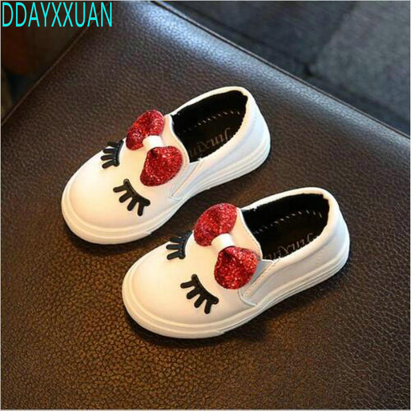 Children Shoes Girls Sneakers New Spring Autumn Cute Bow Fashion Princess Girls Shoes Kids Soft Casual Single Shoes Size 21-36 ...