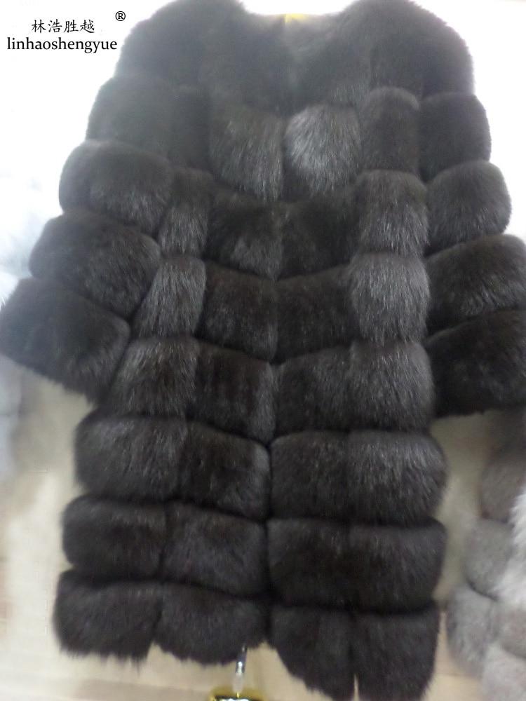 Linhaoshengyue 100CM pravý přírodní liščí kožich s rukávem