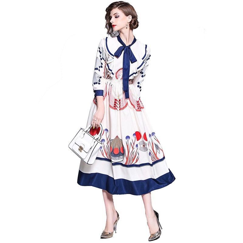 Nouveauté femmes manches longues élégant Vintage imprimé Floral robe col montant robes avec cravate