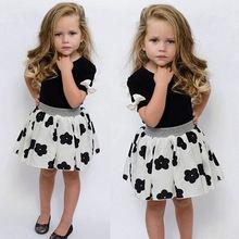 2016 Fashion Kids Baby Girls Toddler Shirt+Dress 2pcs Clothes Outfits Set Girls Summer Dress