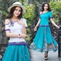 Bohemian t-shirt 2017 plus size women clothing female Spain style ethnic  boho white blue flowers appliques cotton t shirt tee