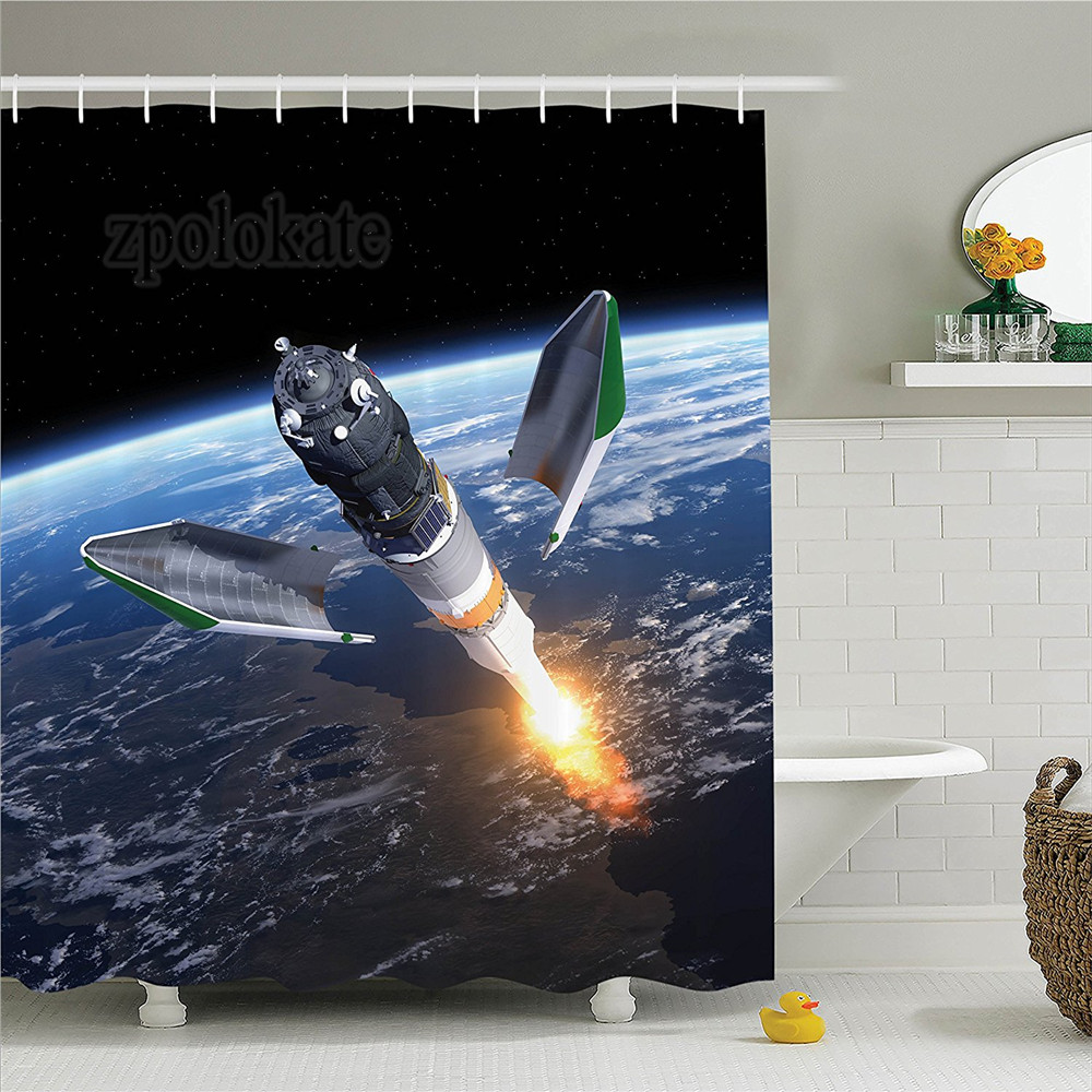 Outer Space Decor Shower Curtain Set Launch Of Cargo Spacecraft In Progress Rocket Takes Off Cosmos Universe Photo Bathroom