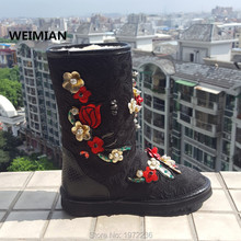 WEIMIAN Fashion Brand Women Luxury Winter Boots Flowers Embroidery Booties Top Quality Ankle Boots Fur snow boots winter shoes