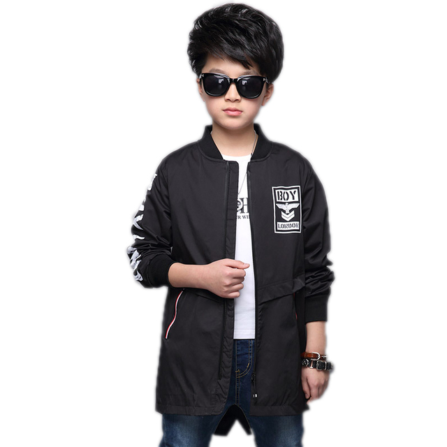 ac38ed9756b35 US $27.25 25% OFF|big boy jackets and coats 2018 new autumn children  outwear letter printed boys long trench jackets teenager boys baseball  jacket-in ...