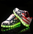 Led Shoes 2016 Fashion Luminous Shoes Men Basket LED Platform USB charging Light Up LED Shoes For Adults