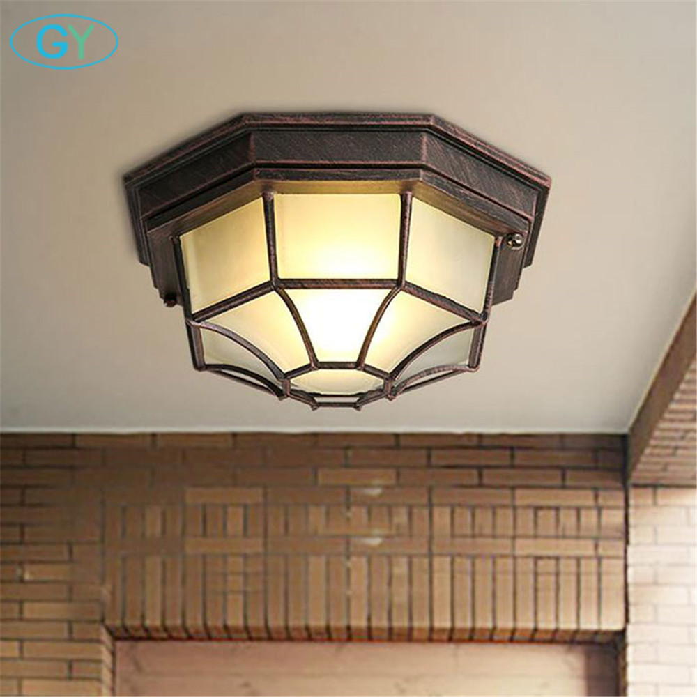 American industrial style retro led wrought iron ceiling lamp European balcony kitchen hallway entrance surface mounted lights