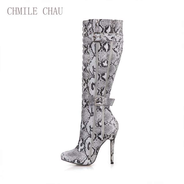 CHMILE CHAU Sexy Party Shoe  Women Thin Stiletto High Heel Buckle Zipper Pleated Ladies Knee-High Boots Zapatos Mujer 0640CBT-Y5