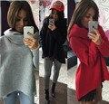 2016 new winter Tops irregular Shawl Collar Sweater Women T-shirt plus size hoodies sudaderas sweatshirt casual