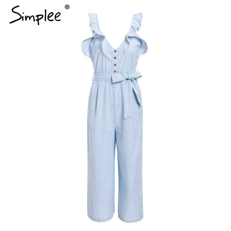 Женский длинный комбинезон Simplee, хлопковый льняной комбинезон с широкими штанинами, рюшами, v-образным вырезом, пуговицей и завязкой в форме бабочки, женский комбинезон без рукавов