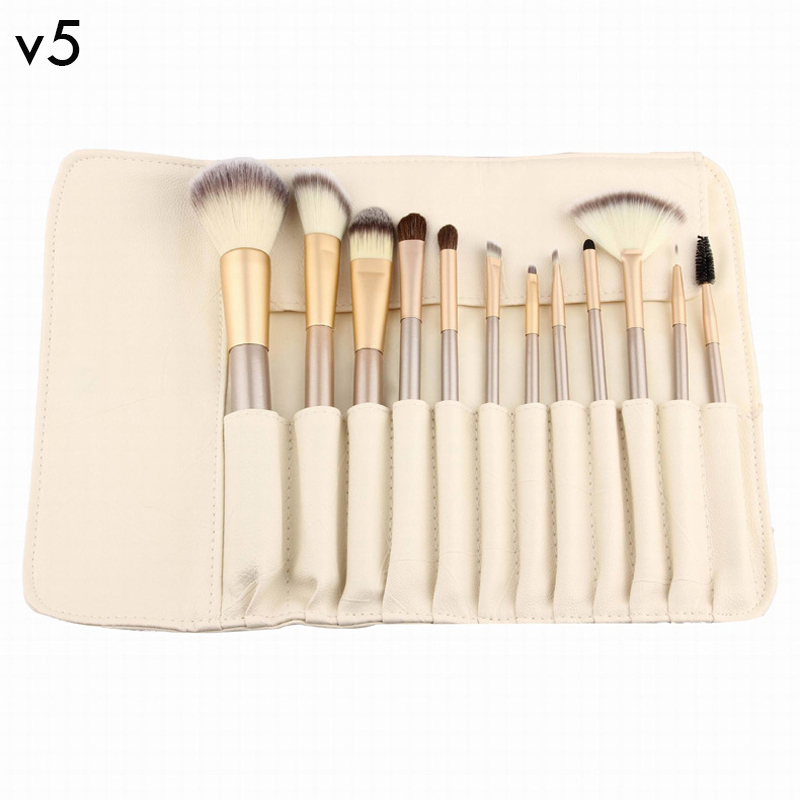 V5 12 Pcs Professional Makeup Brushes Set Soft Synthetic Make Up Brush Eyeshadow Eyeliner Lip Brush Kits With High Quality Bag 24pcs professional makeup brushes eyeshadow eyeliner cream make up brushes brocha maquillaje with bag make up for you brush drop