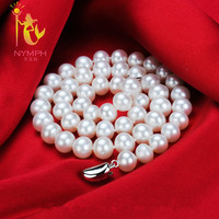 NYMPH Pearl Jewerly Natural Freshwater Pearl Necklace Choker Necklace White Round Pearl Fine Jewelry 45cm