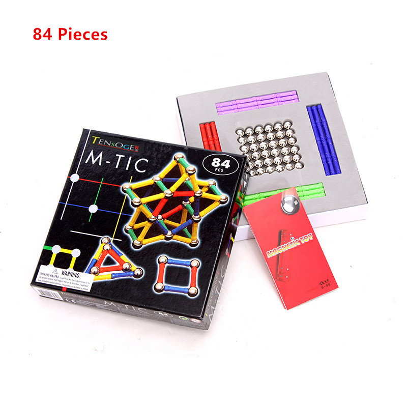 Tensoger 84 Pics Magnetic Stick Childrens Educational DIY Toys Magnet Building Blocks Magnetic Patch Gift for Girls Boys ...