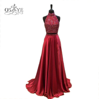 Real Photos 2017 Burgundy Sexy Two Piece Prom Dresses High Neck Beaded Top Sweep Train Satin Formal Evening Gowns