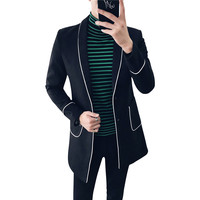 2017 Winter New Men's England Gentleman Pajamas Wind Woolen Blends Slim Mid-Long Windbreaker Casual High Quality Coats M-2XL