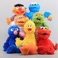 Conjunto de 7 Unidades de Sesame Street Elmo Marioneta de Mano Juguetes de Peluche Cookie Monster Grover Ernie Pájaro Grande de Peluche Muñecas Para Niños El Mejor Regalo
