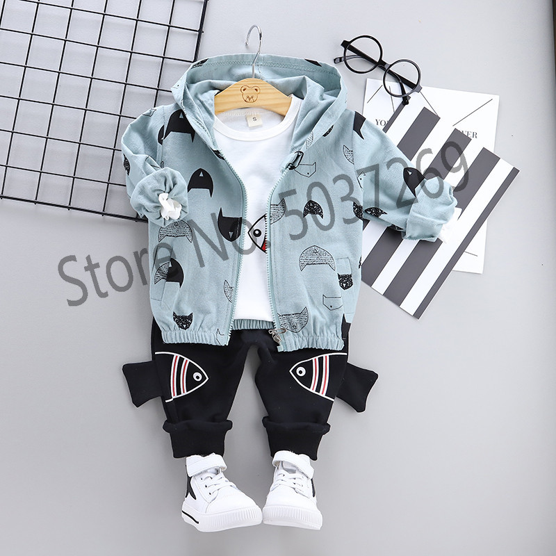 High quality baby boy clothing 2019 spring autumn new active casual kid suit children clothes coat+T-shirt+pant set