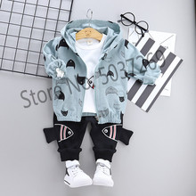 High quality baby boy clothing 2019 spring autumn new active casual kid suit children clothes coat+T-shirt+pant clothing set цена