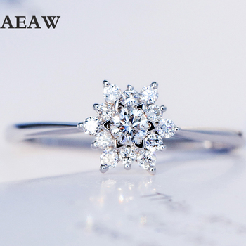 0.32ctw Real Diamond Engagement Ring Prong Setting Solitaire Solitaire Style 18k White Gold For Women