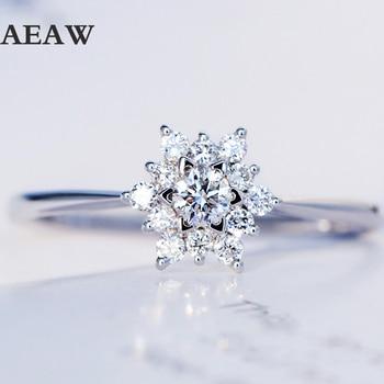 0.32 مجموع الوزن بالقيراط خاتم الماس الاشتباك الحقيقي الشق الإعداد سوليتير نمط سوليتير 18 كيلو الذهب الأبيض للنساء