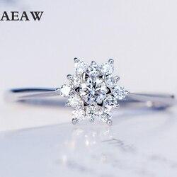 0,32 ctw Echt Diamant-verlobungsring Ring Prong Einstellung Solitaire Solitaire Stil 18k Weiß Gold Für Frauen
