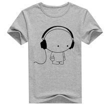 MR K Young Men Short Sleeve T-Shirt Headphone Man Cartoon Pattern Print T-Shirt Fashion Casual Round Neck Slim Fit Top Male(China)