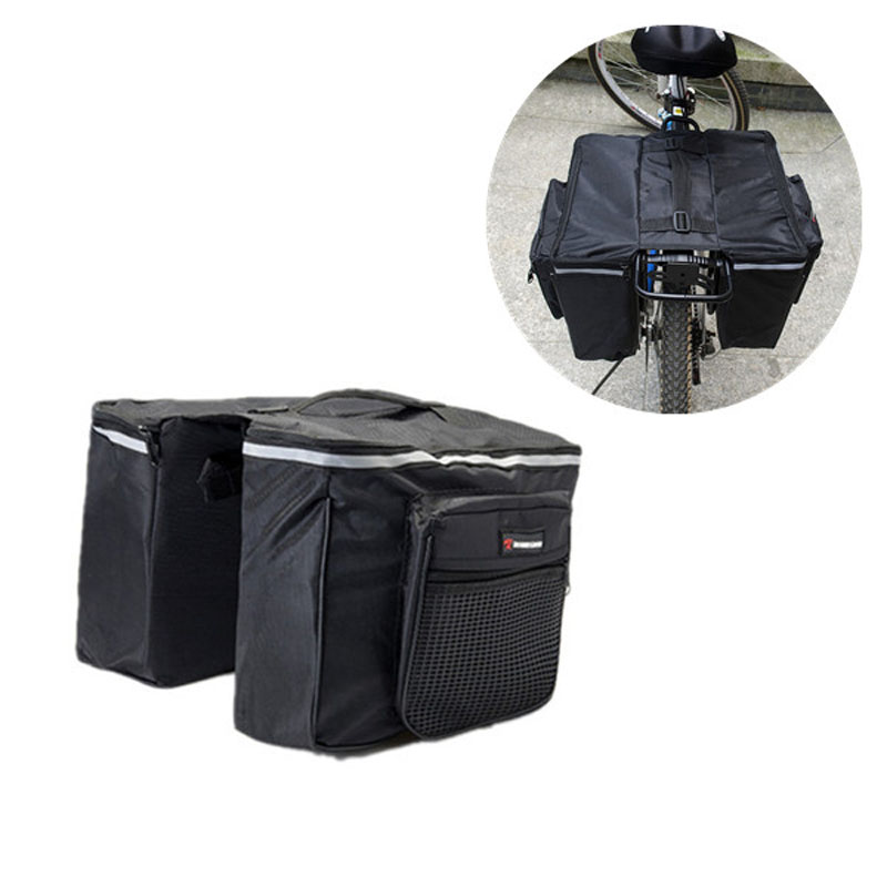 2 in 1 Bicycle Bags Black Cycling Rear Double Side Rack Bag Tail Seat Pannier Outdoor Bicycle Saddle Storage Bags