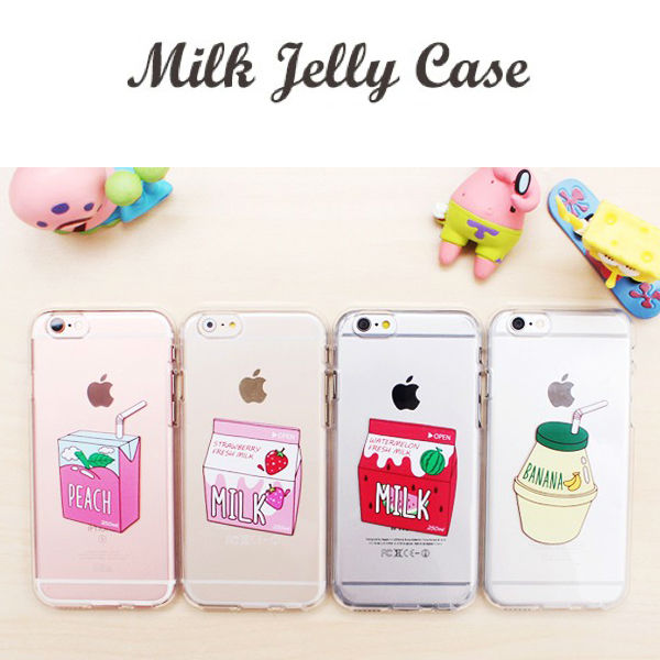 TOMOCOMO Milk Box Carton Peach Strawberry WaterMelon Banana Juice Milk Jelly Soft Case For iPhone 5 6S 6P 7 7P 8 8P X Samsung