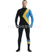 new high quality Large size Men's Zentai Unitard Dancewear HoodlessUnisexSkin Tight Jamaican Bobsled Team Cool Runnings Costume