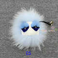 Plush Monster Fur Fluffy Genuine Raccoon Fur Pom Pom Keychain Fur Car Key Chain Key Ring Monster Women Bag Charm