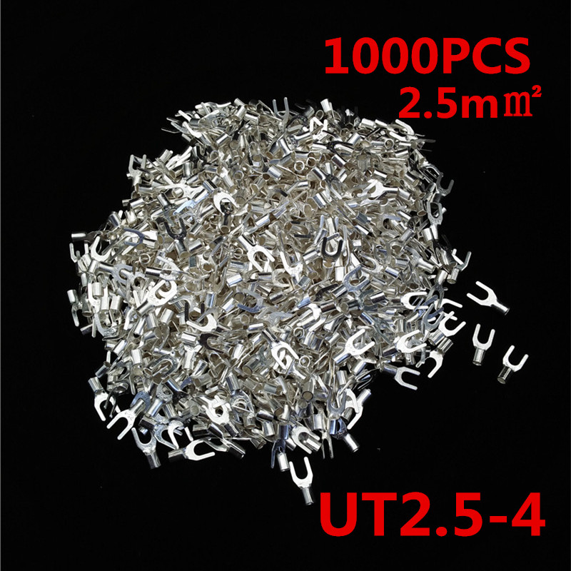 1000Pcs 4,2mm U Type Cold Crimp Terminal Non-Insulated Fork Shaped Terminals 2.5mm2 Wire Cable Connector 1000pcs dupont jumper wire cable housing female pin contor terminal 2 54mm new