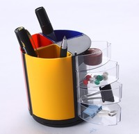 Plastic Multi Function Pen Holder Vase Pencil Pot Stationery Desk Tidy Container Office School Stationery Supplier