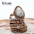 Artilady natural crystal rings set vintage antic gold/silver black turquoise ring set for women jewelry