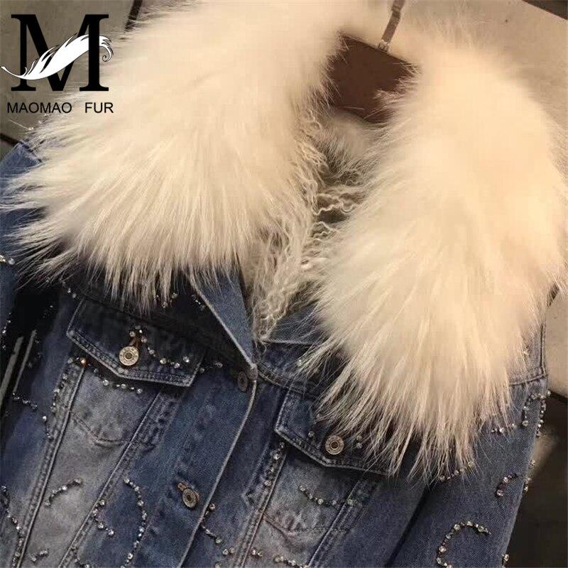 Manteau Femme De D'hiver Chaud Raton Épais Collier Denim Laveur Parka Fourrure Veste Jean Femmes fXOOqxS