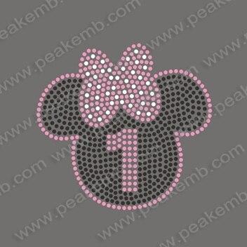Free Shipping 30pcs Lot Cute Minnie Mouse Iron On Motif Rhinestone Applique  Heat Transfers Free Custom Design 69df76ac96f9