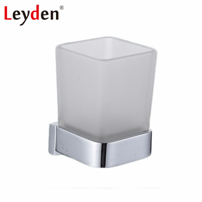 Leyden Hot Selling Square Tumbler Toothbrush Holder Chrome Wall Mounted Solid Brass Toothbrush Tumbler Holder Bathroom Accessory image