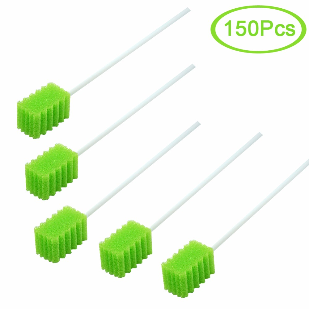 MUNKCARE Disposable Foam Oral Swabs Oral Sponge Swabs Oral Hygiene Swabs Teeth Cleaning Foam Swabs Fruit Green