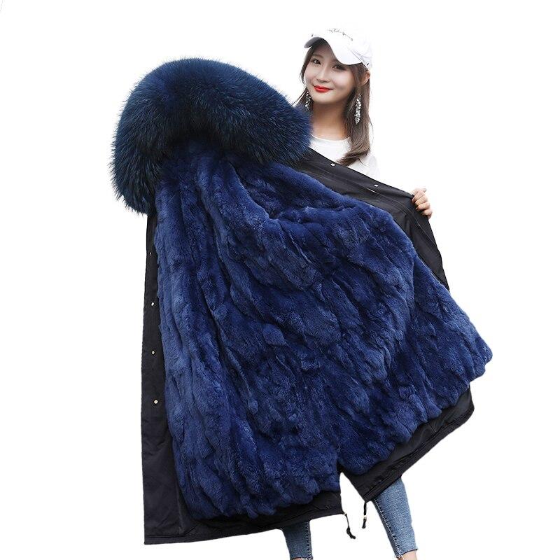2018 Femmes Long Manteau De Fourrure Parkas D'hiver Veste Femme parka Rex Lapin De Fourrure Intérieure Réservoir Extra Large YH182